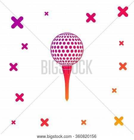 Color Golf Ball On Tee Icon Isolated On White Background. Gradient Random Dynamic Shapes. Vector Ill