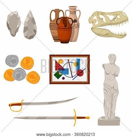 Museum Set Exhibit Pod And Tools Icons Of Various Historical Periods: Stone Tools, Ancient Amphora,