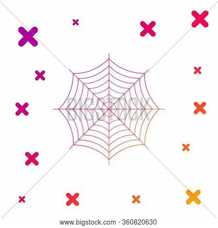 Color Spider Web Icon Isolated On White Background. Cobweb Sign. Gradient Random Dynamic Shapes. Vec