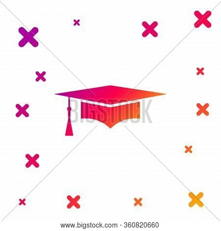 Color Graduation Cap Icon Isolated On White Background. Graduation Hat With Tassel Icon. Gradient Ra