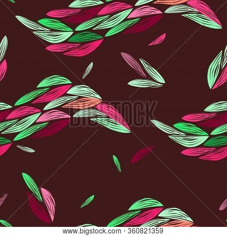 Seamless Floral Ethnic Pattern With Colorful Autumn Leaves On Dark Bordo Background. Modern Colors.v