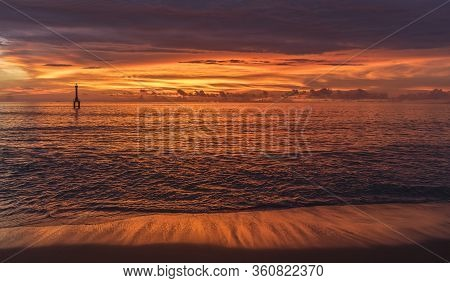 Bright Vivid Pink And Red Sunset In The Evening At The Beach Near Padang, West Sumatra, Indonesia Su
