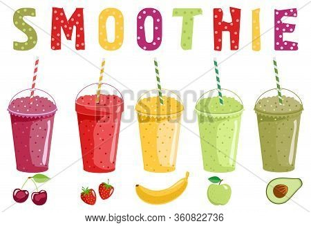 Smoothie And Fruits. Set Of Vector Illustrations Smoothie Or Fresh Juice With Drinking Straws. Smoot