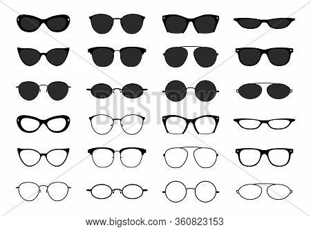 Glasses Collection. Geek Eyeglasses And Sunglasses. Black Spectacles Silhouette. Vector Fashion Opti