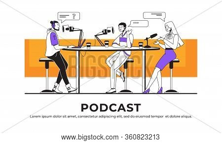 Podcast Interview. Blogger Or Radio Host Interviewing Guest And Streaming Online, Broadcast Intervie