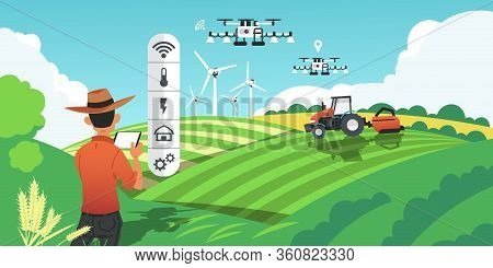 Smart Farming. Growing Crops And Harvesting Plants With Futuristic Technologies, Drones On Field And