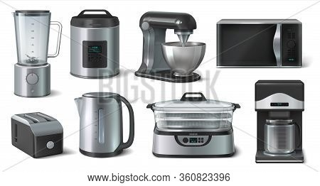 Realistic Household. Blender Microwave Electric Kettle And Other Kitchen Appliances. Vector 3d Set K