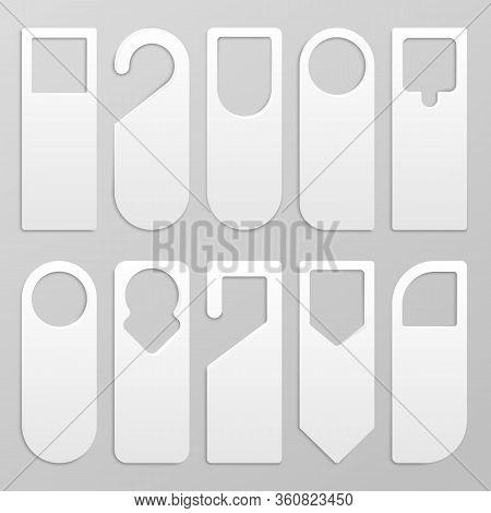 Door Hanger. Realistic Blank Paper Hanger Mockup, White Cardboard Do Not Disturb Sign For Hotel Door