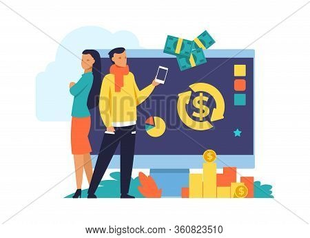 Money Cashback And Transfer Flat Illustration. Debit, Credit Card Or Electron Wallet Pays. Vector Il