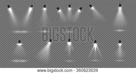 Spotlight For Stage. Realistic Floodlight Set. Illuminated Studio Spotlights For Stage. Vector Illus