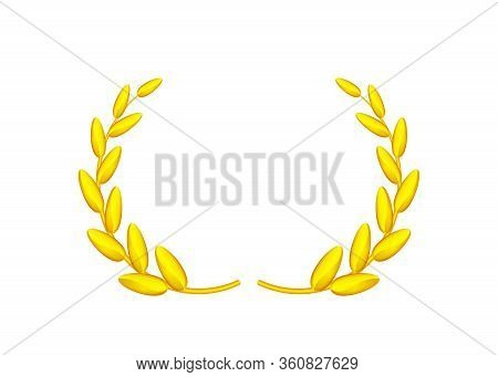 Golden Laurel Wreath Isolated On White Background, Circle Frame Gold Laurel Wreath Symbol, Gold Laur