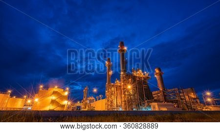 Power Plant On Blue Sky. Chimney Of Thermal Power Plants. Gas Turbine Electrical Power Plant At Indu