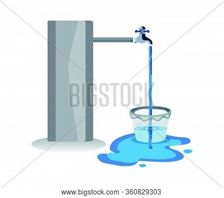 Water Waste From Running Tap. Wastage Of Water Theme For Save Water. Spread Water On Floor From Hole