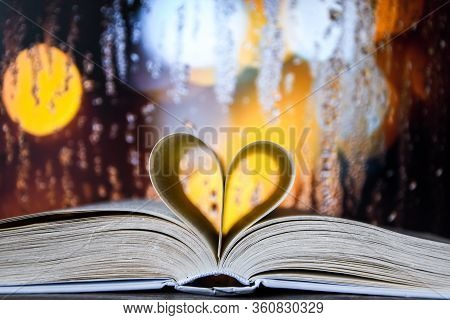 Book With Love Symbol Isolated On Window Background, Love Books, Love To Read, Love Stories, Heart S