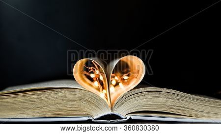 Book With Love Symbol Isolated On Black Background, Love Books, Love To Read, Love Stories, Heart Sh