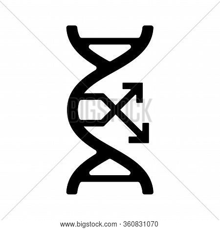 Dna Mutation, Change Gene Flat Gmo Icon, Black Sign. Symbol Genetically Modification. Food Label Or