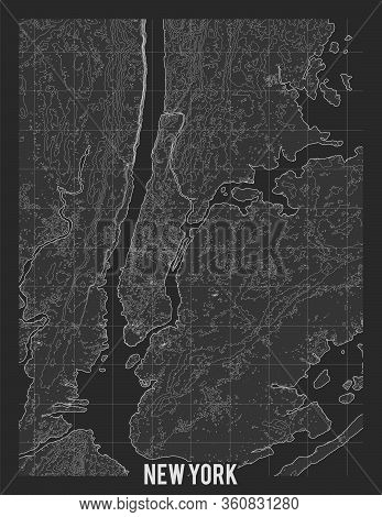 City Map Of New York. Vector Elevation Map Of Town. Generated Conceptual Surface Relief Map. Detaile