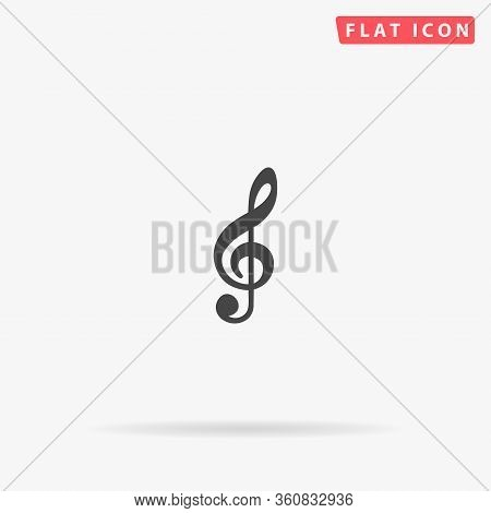 G Clef Flat Vector Icon. Glyph Style Sign. Simple Hand Drawn Illustrations Symbol For Concept Infogr