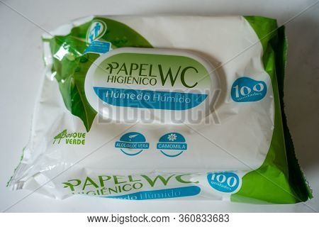 Torrevieja, Valenciana, Spain - Apr 12 2020 : Papel Wet Wipes In Packet In Bathroom Area