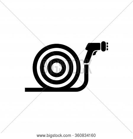 Garden Water Hose With Spray Gun Sprinkler. Flat Vector Icon Illustration. Simple Black Symbol On Wh