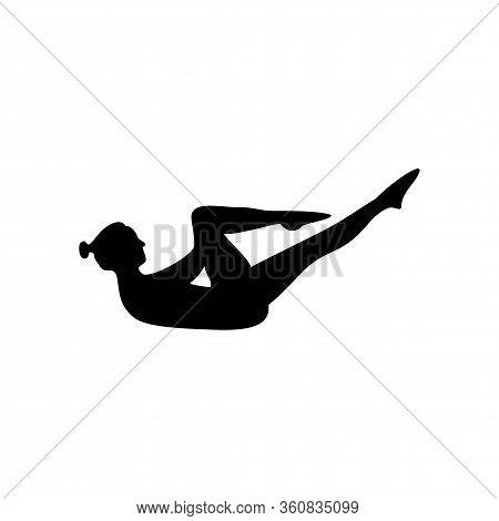 Woman Yoga Or Pilates Position Silhouette Logo Vector Design