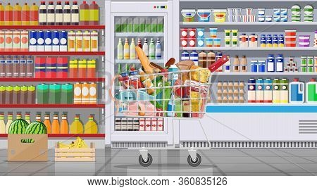 Supermarket Store Interior With Goods. Big Shopping Mall. Groceries Shop. Inside Of Super Market. Ca