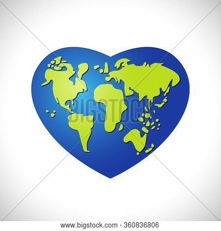 Earth Planet In Heart Frame, Logotype Concept. Creative Icon. World Map In 3d Style Heart Shape. Iso