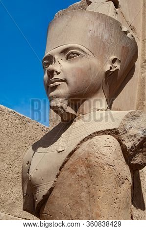 Luxor, Egypt. February 12th 2009  Stone Pharaonic Portrait Pharaonic Inscriptions At The Ancient Egy