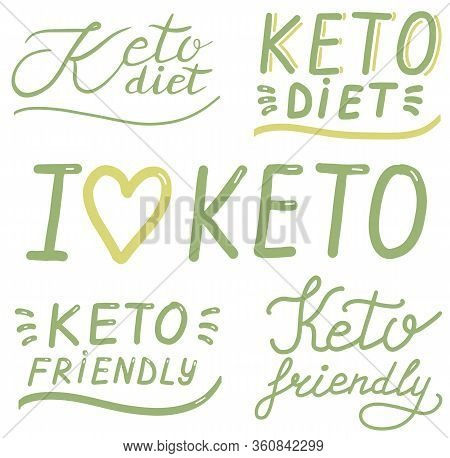Keto Diet, Friendly, Lettering Calligraphy Set, Colorful Isolated Handwritten Green Text On White Ba