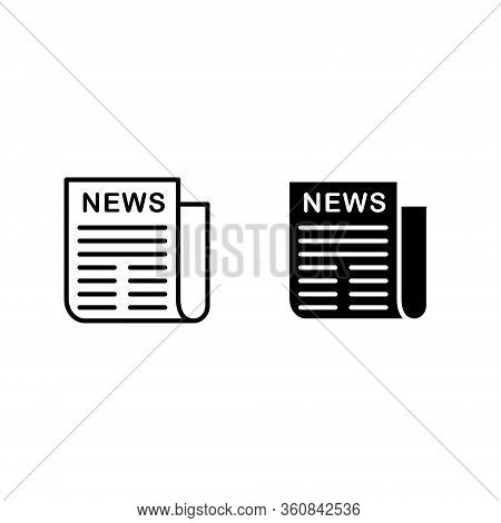 Newspaper Line Icon In Flat Style. Black Information Symbol For Web Design And Mobile App On White B