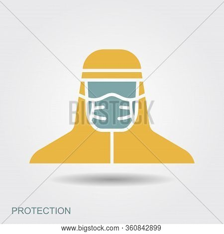 Medical Scientist, Bacteriologist, Doctor With Protective Mask And Protective Clothes. Flat Icon Wit