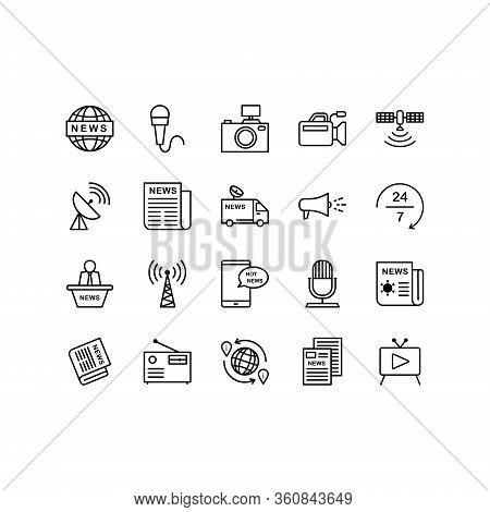 Set Of News, Journalism, Media Icons Including Newspaper, Tv, Microphone, Camera, Breaking News, Art