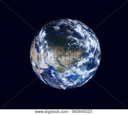 Earth Globe, View Of The Continent Of Eurasia. 3d Illustration