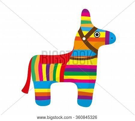 Pinata Icon, Flat Style. Donkey Colorful. Isolated On White Background. Illustration, Clip-art.