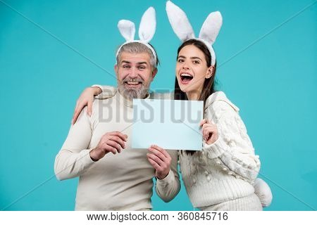 Happy Easter For Your Company. Bunny: Upset Rabbit Couple. Portrait Of Happy Easter Bunny Man And Wo
