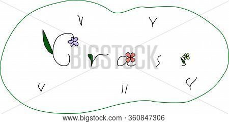 Child Vector Stilized Picture Or Icon Of Lawn With Grass And Flowers Made By Means Of Letters On The