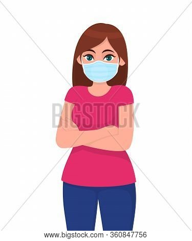 Young Girl Wearing Medical Face Mask With Crossed Arms. Trendy Woman Covering Protective Surgical Ma