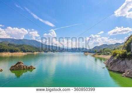 The Sky On Lake Del Salto.  Lago Del Salto In The Province Of Rieti In Lazio In Italy.