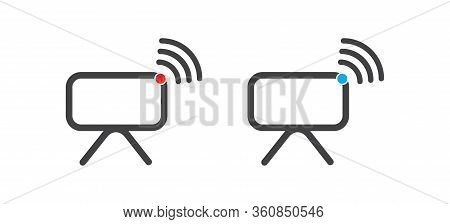 Smart Tv With Wi-fi Vector Icon. Filled Flat Sign For Mobile Concept And Web Design. Wifi Tv Simple
