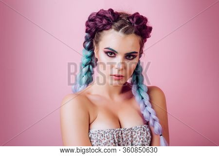 Brunette Girl With Perfect Make Up. Beautiful Woman With Braided Hairstyle. Care And Beauty Braid Ha