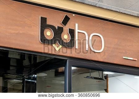 Cefalu, Sicily - February 11, 2020: The Logo Of Buho Caffeteria Above The Entrance In Cefalu, Sicily