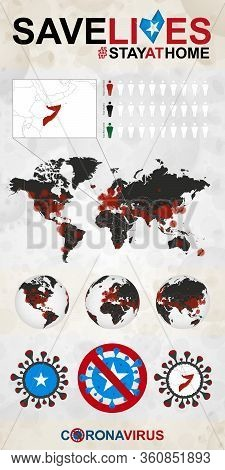 Infographic About Coronavirus In Somalia - Stay At Home, Save Lives. Somalia Flag And Map, World Map