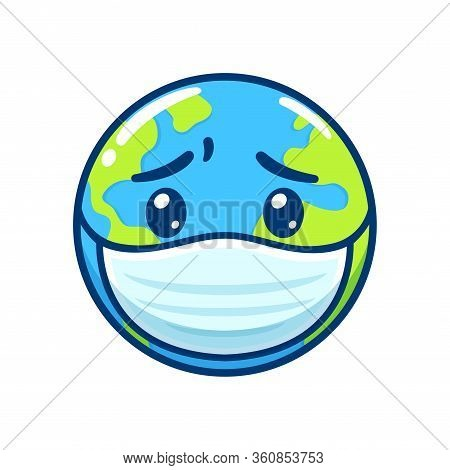 Sick Earth In Face Mask With Worried Face. Disease Pandemic And Global Health Crisis, Cute Cartoon D
