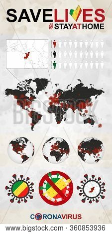 Infographic About Coronavirus In Congo - Stay At Home, Save Lives. Congo Flag And Map, World Map Wit