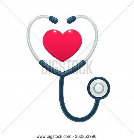 Medical Stethoscope With Heart Icon. Health Care And Medicine Worker Symbol, Isolated Vector Illustr