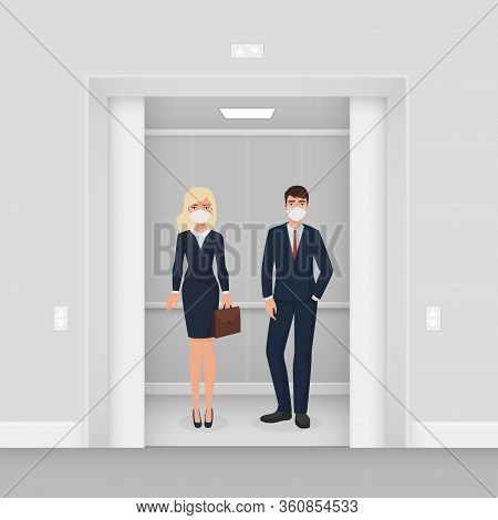 Business People In Masks In Elevator Character Flat Cartoon Vector Illustration Concept. Man And Wom