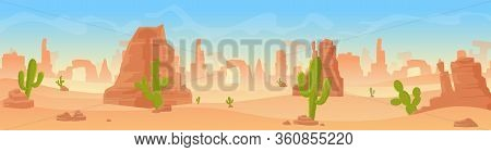 Stony Sandy Desert Landscape Panorama Flat Cartoon Vector Illustration Background. Panoramic Wild Li