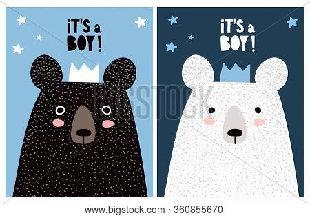 It Is A Boy. Sweet Infantile Style Nursery Art With Funny Polar And Black Bears. Cute Baby Shower Ve