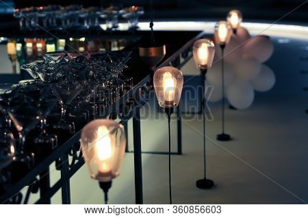 Pendant Lamps, Interior For Cafe Bar. Pendant Lamps.