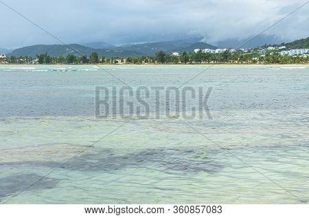 Seascape Across Bay And Mountains On Horizon Of Northern Coastal Puerto Rico